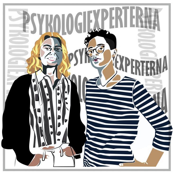 Syntolkning: Bild på psykologvetarna, illustrerad av Marie-Ange