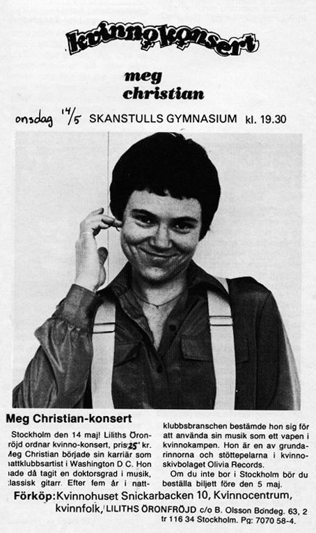 Affisch inför konserten med Meg Christian på Skanstulls gymnasium 1980.