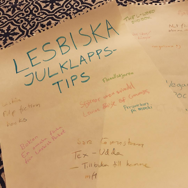 Foto av lista på lesbiska julklappstips