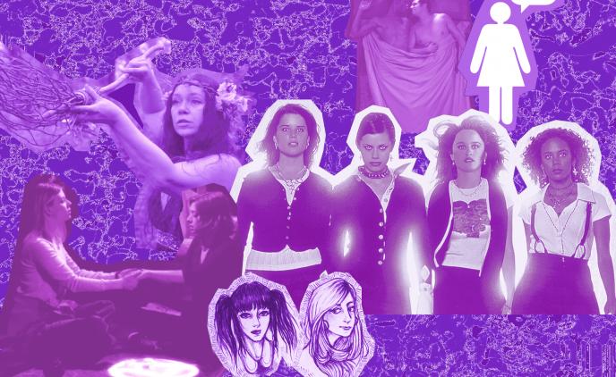 Bilden är ett lila collage med inklippta bilder. Bland bilderna syns karaktärer från Buffy och vampyrerna, The Craft, Brujos och Engelforsserien, samt en kvinna från Rockbitch och en enkel siluett av en person i klänning med en pratbubbla.