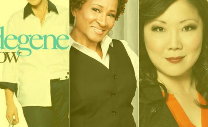 3 vertical pictures with yellow filter of Ellen Degeneres, Wanda Sykes, Margaret Cho